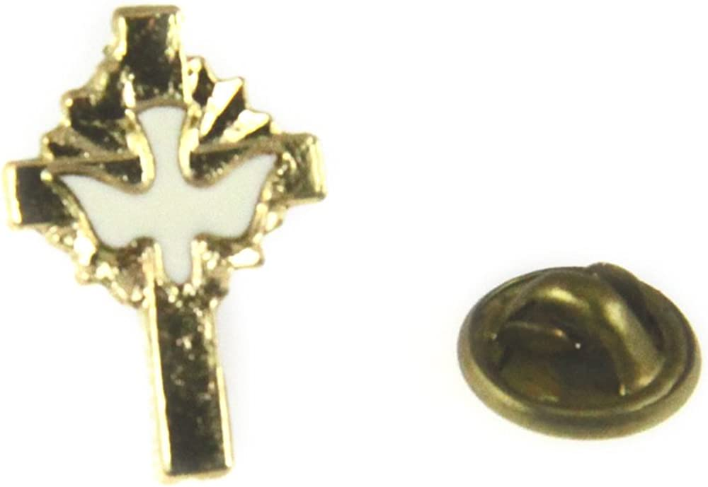 6030095 Christian Cross Lapel Pin Holy Spirit Dove Pin Tie Tack Religious Church Baptism Holy Ghost