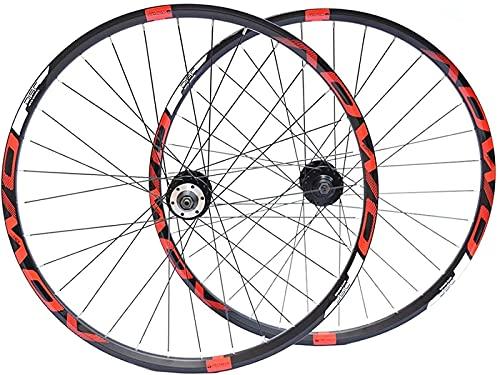 HXJZJ Bicicletas de Ciclismo para 26 27,Juego de Ruedas de Bicicleta de Montaña de 5 29 Pulgadas CNC, Llanta de Aluminio de Doble Pared, Freno de Disco 32H QR 8-10 Velocidades,Red-29in