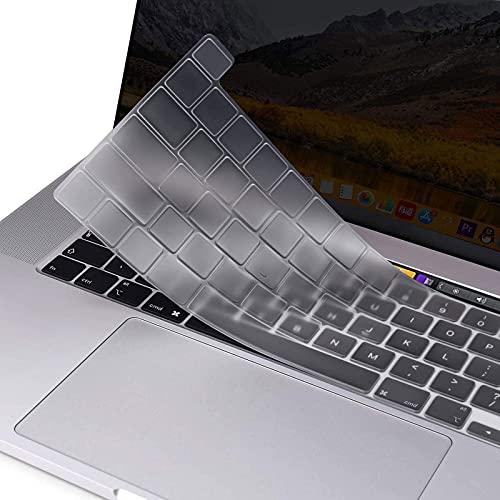 MOSISO Tastaturschutz Kompatibel mit MacBook Pro 13 Zoll 2020 A2338 M1 A2251 A2289 undKompatibel mit MacBook Pro 16 Zoll 2019 A2141 mit Touch ID und Retina Bildschirm, Schützende Silikonhaut, Transparent