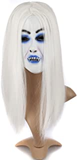 ARTSTORE Latex Horror Creepy White Hair Witch Mask,Scary Toothy Zombie Halloween Party Props