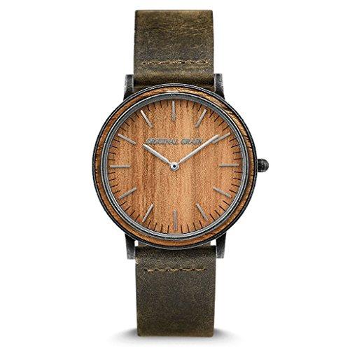 Original Grain Koa Stonewashed Wood Watch - Minimalist Collection Analog Watch - Japanese Quartz Movement - Wood and Stainless Steel - Water Resistant - Hawaiian Koa Wrist Watch - 40MM