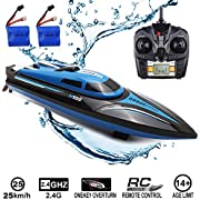 SZJJX RC Boat 2.4GHz 25KM/H High Speed 4 Channels Remote Control Electric Racing Boat