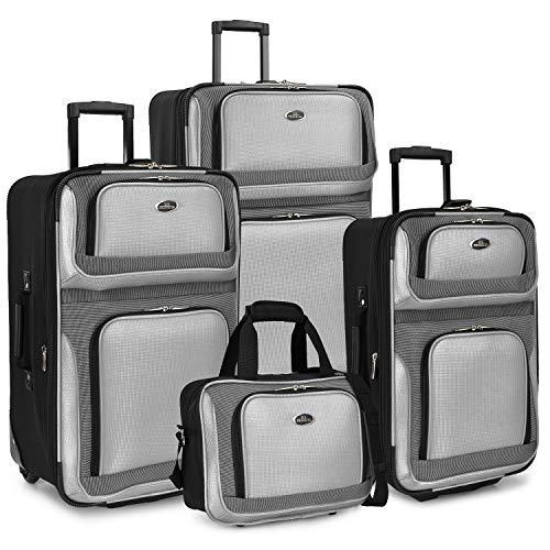 U.S. Traveler New Yorker Lightweight Expandable Rolling Luggage, Gray