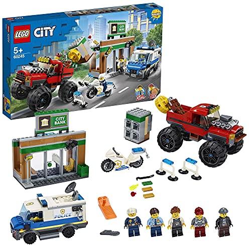 LEGO 60245 City Le cambriolage de la Banque, Ensemble avec Fourgon, Moto, Banque et Brique magnétique