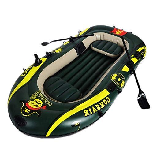 GUOE-YKGM Kayak 2/3/4-Personen-Ausflug Aufblasbares Kajak-Angriffsboot-Set Mit Kunststoff-Rudern - Aufblasbares Pool-Strandspielzeug Geeignet for Strand-, Rafting-, Surf- Und Inselfahrten - Grün