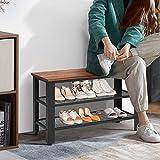 Giantex 3-Tier Shoe Rack Bench, Industrial Shoe Bench with 2 Mesh Shoe Storage Shelves & Seat, Rustic Shoe Rack, Shoe Rack Bench for Entryway, Front Door, Garage Shoe Storage (Rustic Brown)