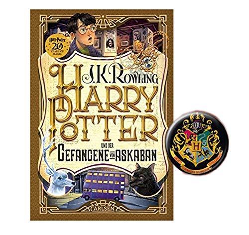 Carlsen Verlag Harry Potter und der Gefangene von Askaban (3 Band, Gebundene Ausgabe) + 1x Original Harry Potter Button