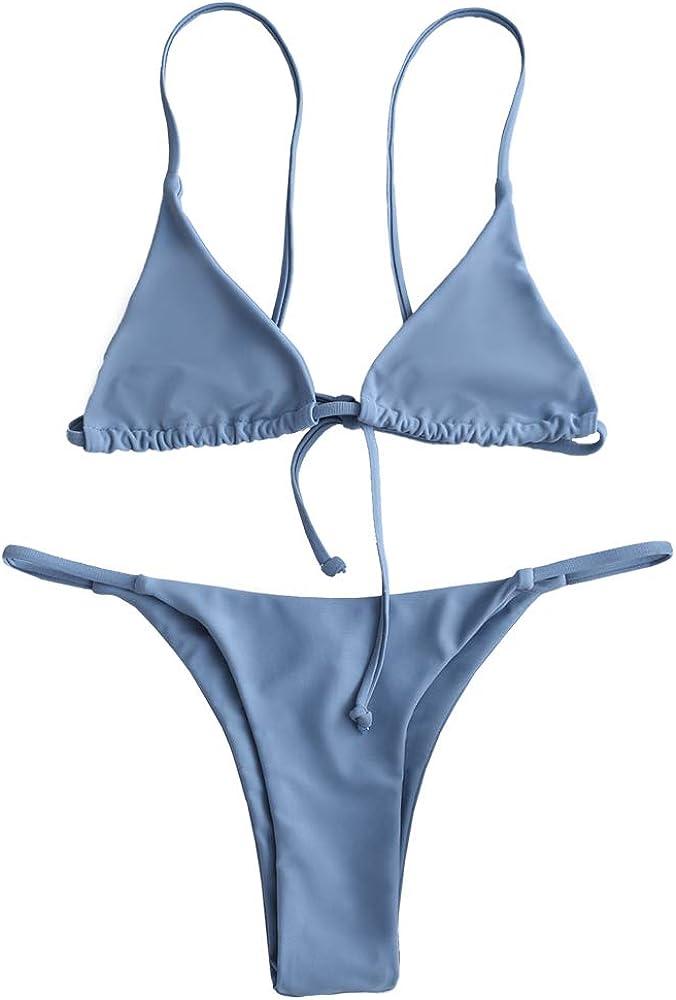 ZAFUL Women's Two Piece Swimsuit Spaghetti Straps Bralette Thong
