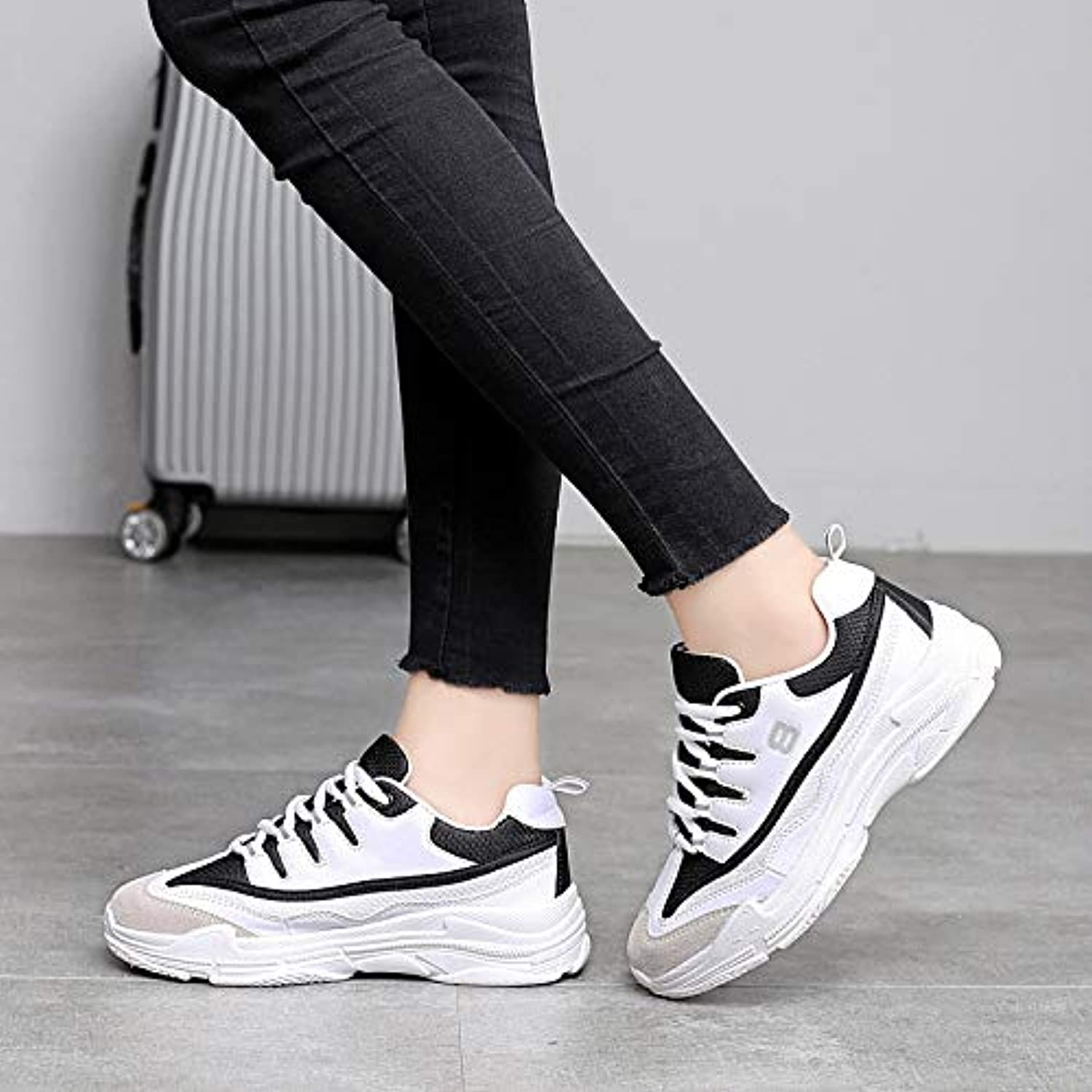 LOVDRAM Men'S shoes Breathable Mesh Women'S shoes Sports Casual Thick-Soled Students Running shoes Women'S Large Size shoes 35-41