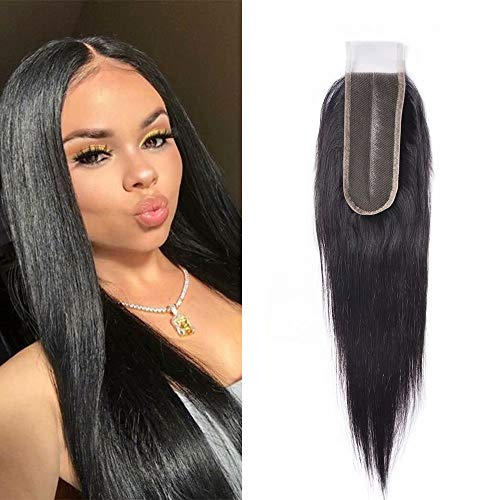 Maxine Brazilian Preplucked Deep Part Lace Closure 2x6 Straight Lace Closure Human Hair Middle Part Frontal Lace Closure Brazilian Virgin Hair 12 inch