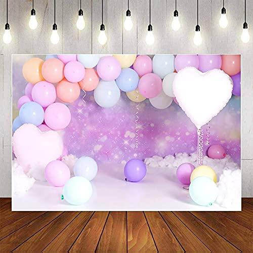 Fondo de fotografía Brillo Bokeh Globo Princesa niña Fiesta de cumpleaños bebé Pastel telón de Fondo Accesorios de Estudio fotográfico A1 9x6ft / 2,7x1,8 m
