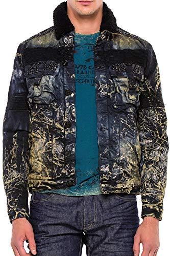Cipo & Baxx Chaqueta vaquera para hombre, diseño de cuello de piel Negro L (Ropa)