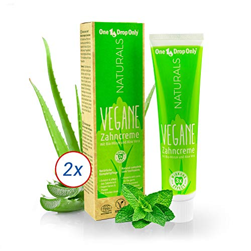 One Drop Only NATURALS Vegane Zahncreme mit Bio-Minze und Aloe Vera - Set mit 2x75ml – Vegane Zahnpasta für natürliche Mundhygiene