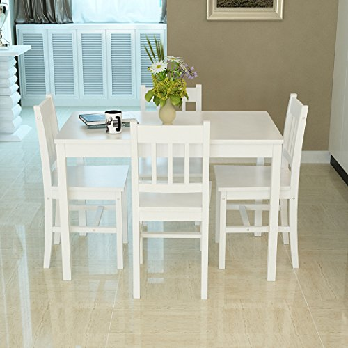 WEIBO 5PCS Solid Pine Wood Dinette Dining Set Table and 4 I-Shaped Chairs Home Kitchen Furniture, White