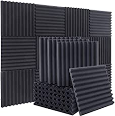 """ZHERMAO 12 Pack Acoustic Foam Upgraded Arc Shaped Sound Proof Foam Panels Studio Foam Wedges, 1"""" X 12"""" X 12"""" Soundproof Foam High Density Fireproof Sound Proofing Padding for Wall, Door and Ceiling"""