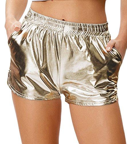 Kate Kasin Metallic Glänzende Boxershorts Hot Pants Halloween Für Karneval Champagne (862-2) X-Large