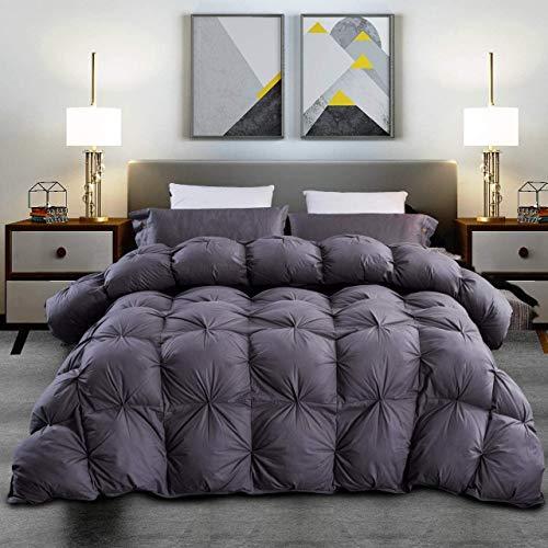 Grandeur Linens Luxuriöse Gänsedaunen-Bettdeckeneinlage, Kassetten-Konstruktion, hochwertiges Quetschfalten-Design, Fadenzahl 1200, 100% ägyptische Baumwolle, Füllkraft 750, 45-70 oz Full / Queen grau