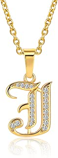 MZC Jewelry Gold Letter Necklace for Women Girls 26 Capital A-Z Script Name Necklace for Mom Sister Friend Birthday