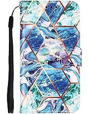 TYWZ Case voor Samsung Galaxy A42 Marmer, PU Lederen Geometrisch Marmeren Patroon Flip Wallet Cover met Polsband Magnetische Sluiting Kaartsleuven-Groen Blauw