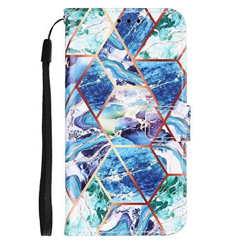 TYWZ Handyhülle für iPhone 6S Plus/6 Plus Marmor,PU Leder Hülle Geometrisch Marble Flip Case mit Kartenfach Brieftasche Etui Schutzhülle Cover Magnet-Grün Blau