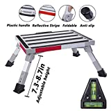Homeon Wheels Safety RV Steps Adjustable Height Folding Platform Step with Non-Slip Rubber Feet, Reflective Stripe, Handle, RV T Level, More Stable Up to 1000lbs 16.5' x 12.2' RV Step Stool