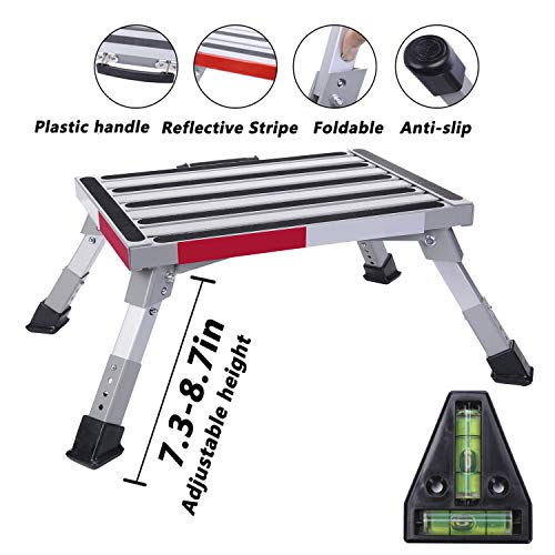 "Homeon Wheels Safety RV Steps Adjustable Height Folding Platform Step with Non-Slip Rubber Feet, Reflective Stripe, Handle, RV T Level, More Stable Up to 1000lbs 16.5"" x 12.2"" RV Step Stool"
