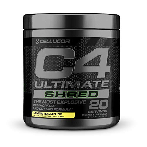 Cellucor C4 Ultimate Shred Pre Workout Powder, Fat Burner for Men & Women, weight Loss Supplement With Ginger Root Extract, Lemon Italian Ice, 20 Servings