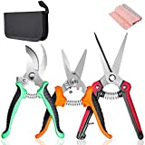 SUMYOUNG Pruning Shears,Garden Shears,3Pcs Garden Pruning Trimming Scissors,Plant Floral Flower...
