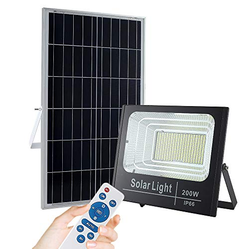200W Solar Flood Lights, Outdoor Dusk to Dawn, Remote Control Solar Powered Flood Light, IP66 Waterproof for Yard, Swimming Pool, Garage, Warehouse, Playground, Hotel, Farm, Arena (Cool White)