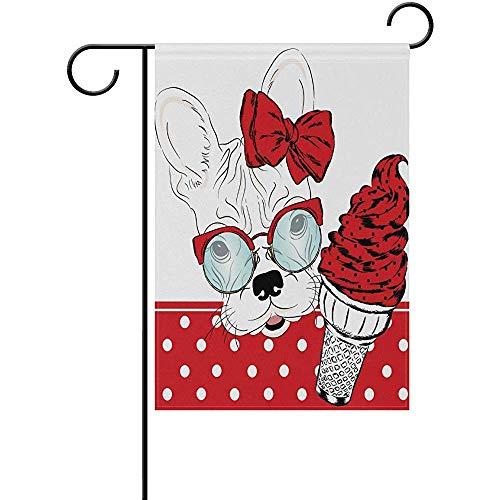 Starotor French Bulldog with A Ice Cream Garden Flag Double Sided House Yard Flag Holiday Seasonal Outdoor Flag 12' x 18'