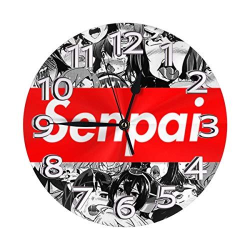 Jacque Dusk Reloj de Pared Moderno,Senpai,Grandes Decorativos Silencioso Reloj de Cuarzo de Redondo No-Ticking para Sala de Estar,25cm diámetro