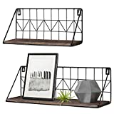 Mkono Set of 2 Wall Floating Shelves Rustic Modern Wood Wall Storage Shelves with Metal...