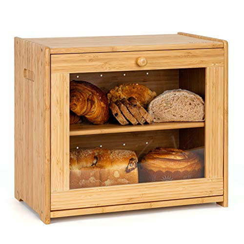 Goodpick Large Double Layer Bread Box Large Bread Storage Bin on Countertop Shelf Clear Windows Rustic Farmhouse Style Bread Holder for Kitchen Countertop, 15.75 in x 14.2 in x 9.8 in, Self Assembly