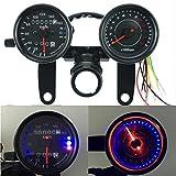 iztor Motorcycle Black Odometer Speedometer and Tachometer with Bracket for Yamaha SR XV RX Cafe Racer Suzuki Honda Kawasaki