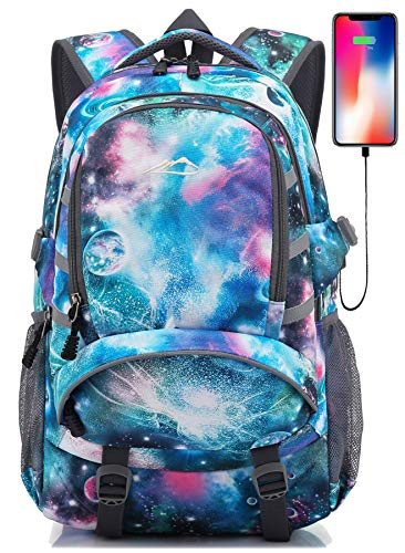 Backpack for School College Student Laptop Bookbag Travel Business with USB Port (Galaxy F)
