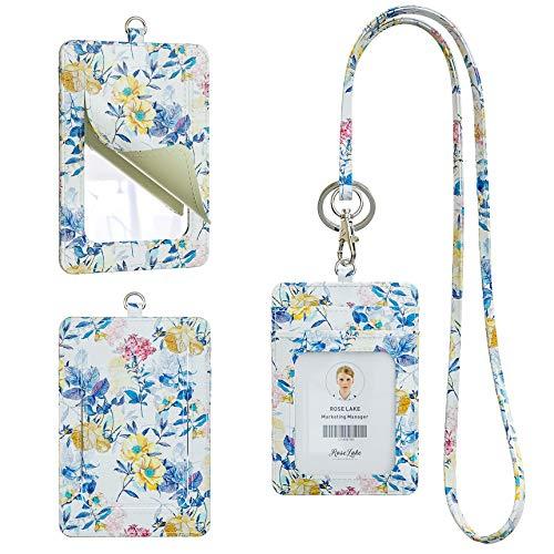 Rose Lake - Soporte para insignia con cordón, diseño de espejo, de piel vertical, con flores, para identificación, nombre, con cordón para el cuello desmontable para...