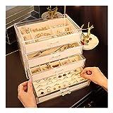 estante de la joyería Capa 4 del cajón de la joyería caja de almacenaje del organizador del sostenedor de la exhibición de la joyería caja de joyería de la pulsera del collar pendiente Anillo soportes