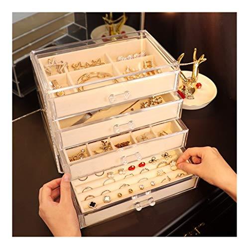 Soporte de exhibición de joyería Capa 4 del cajón de la joyería caja de almacenaje del organizador del sostenedor de la exhibición de la joyería caja de joyería de la pulsera del collar pendiente Anil