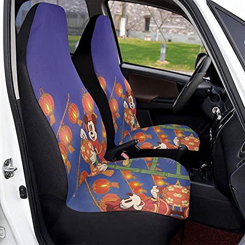 Funda protectora para asiento de coche de Mickey Cartoon Minnie Mouse suave, cómoda y elástica, hecha de poliéster, apta para la mayoría de los coches familiares, 1 unidad