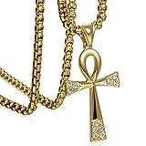 Mujeres Hombres Acero Inoxidable Ankh Vida Egipcia Cruz Collares Pendientes Con Collar De Cristal De Roca Para Mujeres