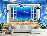 Papel Pintado 3D Espacio Con Delfines En La Ventana Del Acuario Fotomurale 3D Tv Telón De Fondo Pared Decorativos Murales