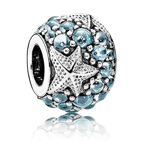 CHICBUY 2016 Europäische Mode 925 Silber Sommer Blue Oceanic Starfish Charms Mit Zirkonia Diamant Perlen passt für Pandora Armbänder Charm Schmuck