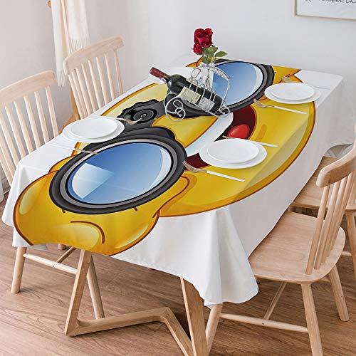 Wachstuch Tischdecke 140x200 cm,Emoji, Smiley-Gesicht mit einer Teleskop-Fernglas-Brille, die drauße,Rechteckige Tischabdeckung Gartentischdecke für Gastronomie, Feste, Party, Hochzeiten oder Haushalt