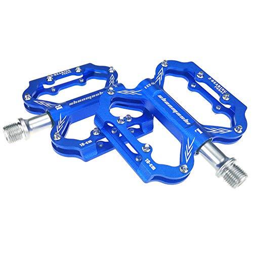 Pedales De AleacióN De Aluminio Ultraligero Pedales De Bicis Antideslizantes Pedales Bici MontañA Adecuado para Bicicleta De Carretera Blue,Free Size