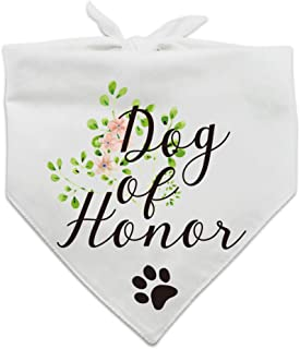 family Kitchen Dog of Honor, Maid of Honor Wedding Dog Bandana, Wedding Photo Prop, Pet Scarf Accessories, Coral Wedding Bandana