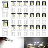 DEFVNSY 20PCS Blanco 194 T10 168 2825 W5W 501 Bombilla de luz LED para interior de coche - Chipsets 5050 de quinta...