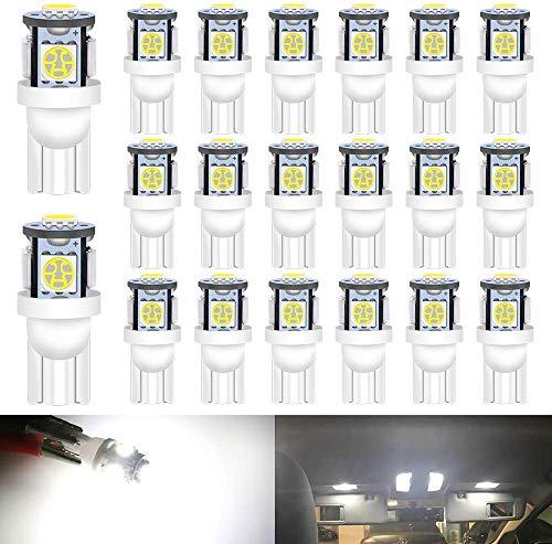 DEFVNSY – paket med 20 – ljus vit 194 T10 168 2825 W5W 501 bil interiör ersättning LED-lampa – femte generationen 5050 chipset 5SMD ljuskälla för 24 V DC-registreringsskylt karta kupol ljus lamm