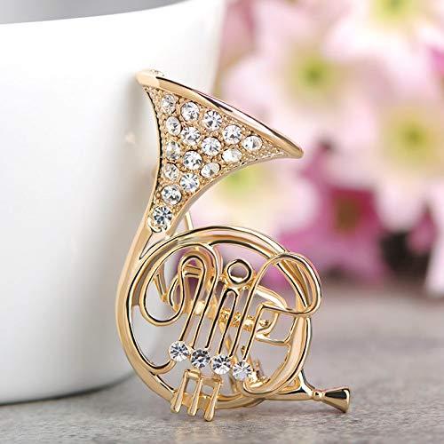 XZROOKEI Kristall Musikinstrument Stil Broschen Gitarre Saxophon Trompete Violine Brosche Anzug Anstecknadeln Musiker Abzeichen Gold Horn