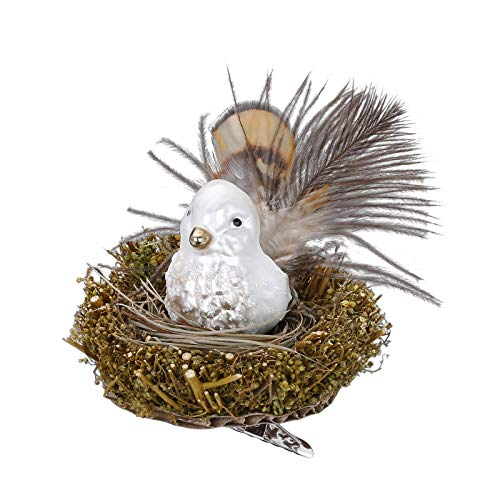 Inge-glas Clip-On Bird Nest Protected Bird 10089S019 German Glass Christmas ORN