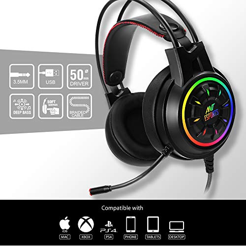 Ant Esports H707 HD RGB Wired Gaming Headset   Noise Cancelling Over-Ear Headphones with Mic for PC / PS4 / Xbox One/Nintendo Switch/Mac